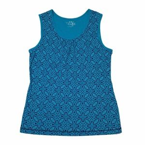 Made for Life Blue Geometric Sleeveless Top L